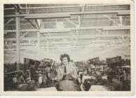 Photo: Nesta at the loom at Johnsons Fabrics, c...