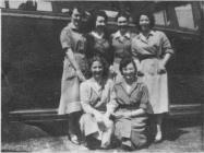 Marge Evans ouside work at Sobells i