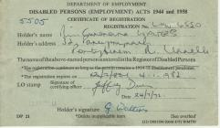 Document; disabled person's certificate of...