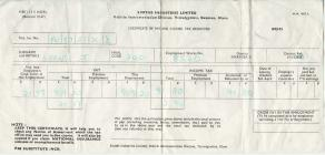Document: Joyce Evans certificate of pay 1972-1973