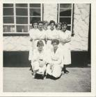 Felinfach Creamery staff Meiryl on right c. 1960
