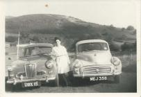 Meiryl & her first car Morris 1000 circa 1965