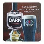 Brains Beer Mat - Brains Dark