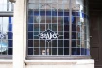 Brains Logo in stained glass