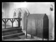 Coity Church sedilia and chest