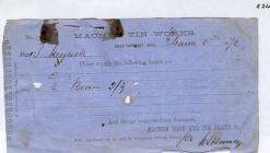 Receipt from Machen Tin Works 1872