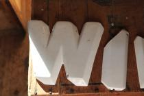 """""""W"""" porcelain advertising letter"""