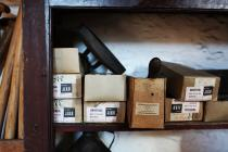 Various old store boxes