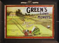 """Green's Lawn Mowers"" sign"