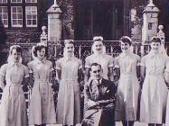 Staff outside The North Wales Hospital, Denbigh