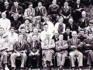 Group of men outside The North Wales Hospital,...