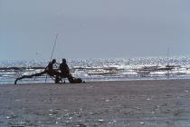 Shore fishing at Cefn Sidan