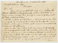 Letter to Joseph Gibson from Thomas Benbow...