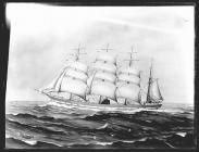 Painting of a four-masted barque