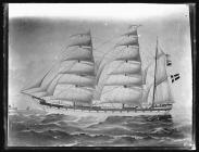 Painting of three-masted barque BRITTA