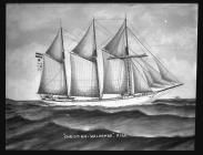 Painting of three-masted schooner CHRISTIAN...