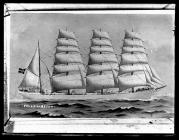 Painting of the four-masted barque FALLS OF AFTON