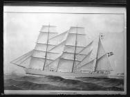 Painting of the three-masted barque HERMES