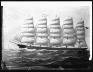 Painting of the five-masted ship PRUESSEN