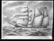 Painting of the three-masted barquentine RUDOLPH