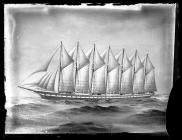 Painting of the seven-masted schooner AMERICA