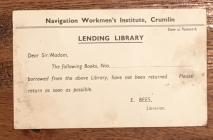 Crumlin Miners Institute library card