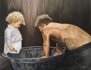 Portrait of a Welsh Miner and his daughter