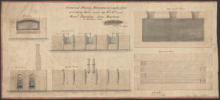 Ground plans, elevations, and section of a...