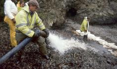 Cleaning oil off a Pembrokeshire Beach after...