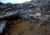 Crude oil filling rock pool at West Angle bay...