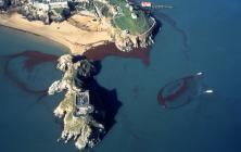 Aerial photograph of oil at Tenby after the Sea...