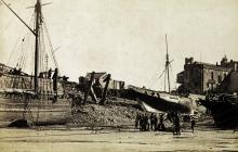 Damage after a Storm in Tenby Harbour c1910
