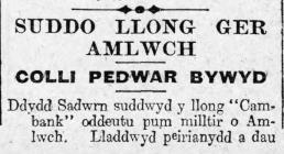 SUDDO LLONG GER AMLWCH