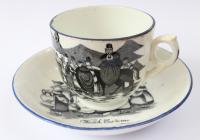 Welsh Costume china, cup and saucer, Sabbath day