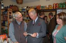 Prince Charles in Cwmdu shop