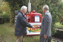 Prince Charles in Cwmdu admiring a tractor