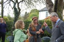 Prince Charles talking to musicians, Cwmdu Inn