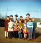 Cwmdu school children in yard on Pancake Day