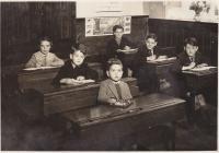 Cwmdu School children sat at desks