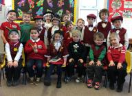 Infants at Talley School dressed for St David's...