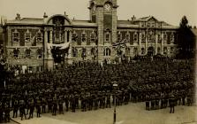 U.S troops assembled in front of Council...