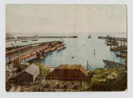 Coloured Photograph of Barry Dock, taken from a...