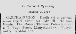Criccieth. Returning Prisoners of War 1918