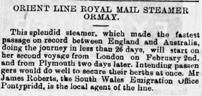 Orient Line Royal Mail Steamer Ormay