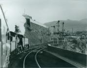 Train approaching Pontypridd Railway Station