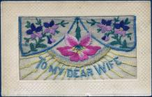 Embroidered postcard from Pte Joshua Harries to...