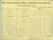 Welsh League Results Book Page