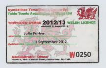 Table Tennis Wales Membership Card 2013