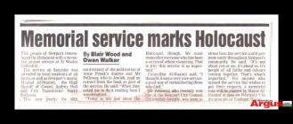 Newspaper clipping about a memorial service...