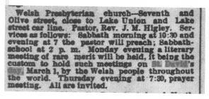 St. David's Day, Seattle 1891